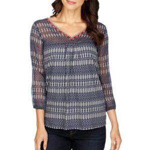 NWT Lucky Brand Vneck boho pullover top semi-sheer